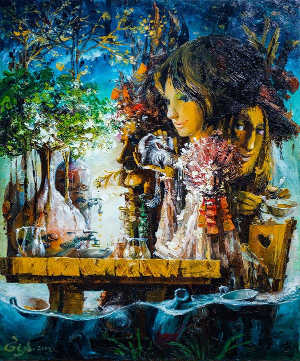 Rabbit Hole - Gia Chikvaidze - Original Oil Painting