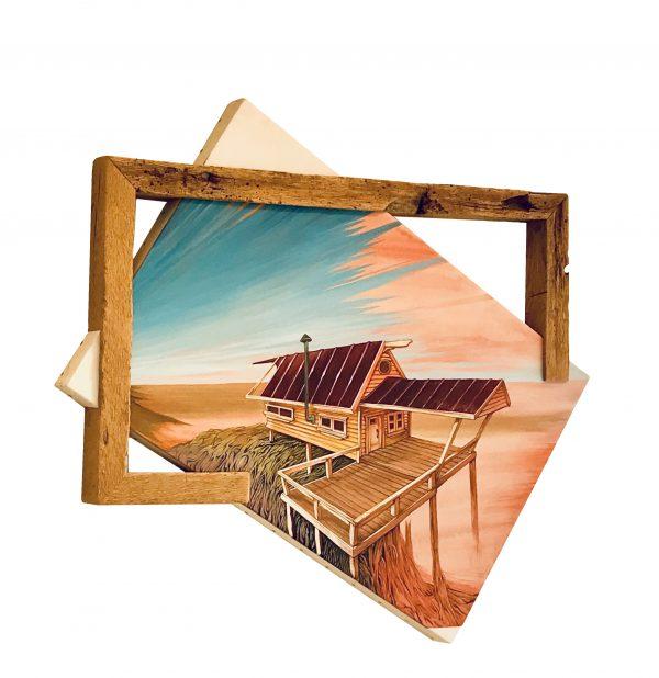Cove Woods Cabin Original Mixed Media Art
