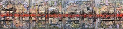 La Linea Roja - Mixed Media Painting