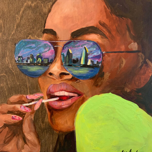 Contemporary acrylic painting of a woman with the San Diego skyline reflected in her glasses.