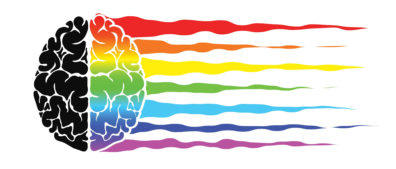 Image of a rainbow brain referring to color psychology in marketing.