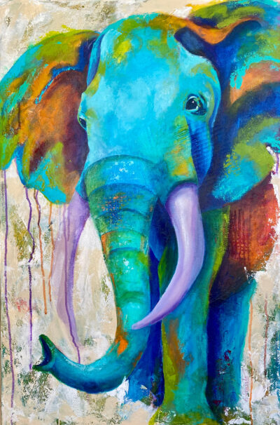 Original Painting - Joyful Abstracted Elephant